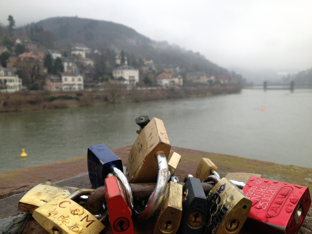 Padlocks on the old bridge in Heidelberg