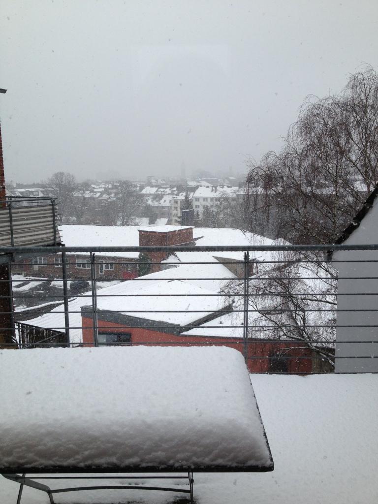 Snow-covered balcony