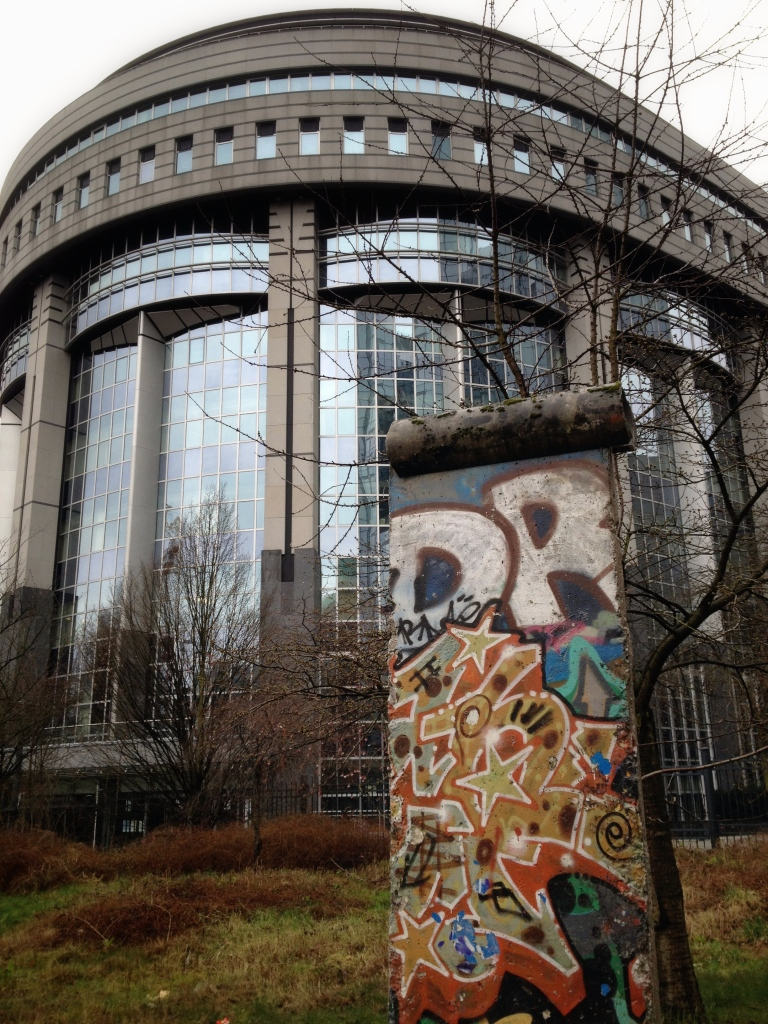 Piece of the Berlin wall in front of the EU Parliament building