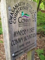 Sign for Conwy Mountain
