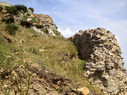 Some of the remaining walls of Deganwy Castle