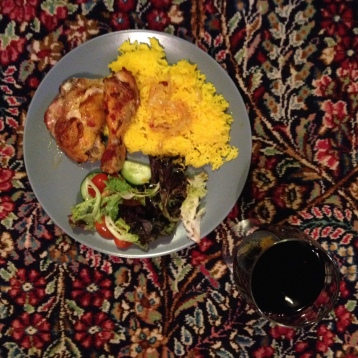 Chicken, saffron rice, salad, and a glass of wine to end the day