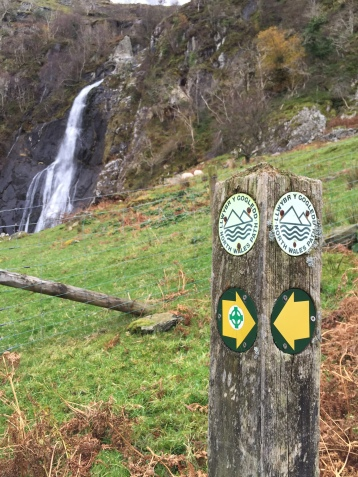 Following the North Wales Path past the falls