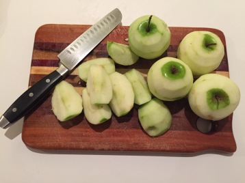 Chopping the apples