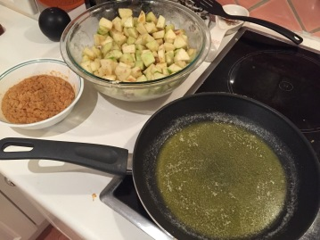 Preparing the apple and breadcrumb fillings