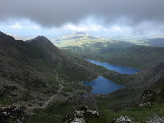 Looking over Glaslyn and Llyn Llydaw near the summit